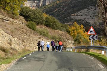 grupo de gente caminando por una carretera