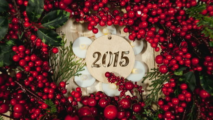 Christmas wreath 2015 with colorful ornaments and decorations