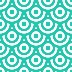 Seamless pattern with circles blue green and white