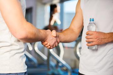 Meeting friend in gym.