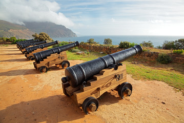 Old cannons at Chapmans Peak, Hout Bay near Cape Town