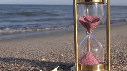sand motion in ancient  sandglass hourglass on sea beach