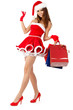 Sexy girl wearing santa claus clothes with gifts
