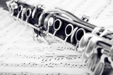 Fototapety Musical notes and clarinet