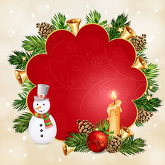 Christmas illustration with Christmas bells and baubles