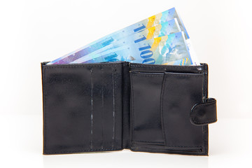 Wallet with Swiss francs