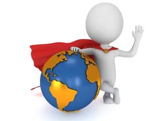 Brave superhero and world sphere