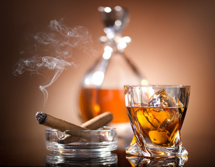 Whiskey and cigar