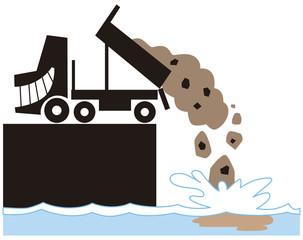 海を汚すダンプカー