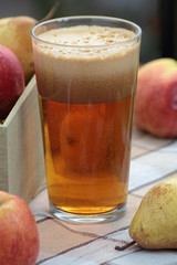 Glass of freshly squeezed apple and pear juice.