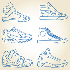 Vector set of sketched shoes