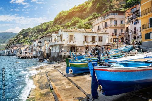 Leinwandbild Motiv Fishing village in calabria, Scilla, Italy