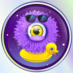 wooly alien monster with duck in space. vector