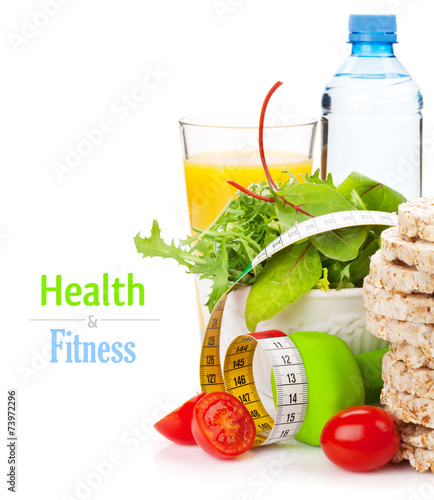 Fotobehang Salade Dumbells, tape measure and healthy food. Fitness and health