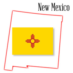 New Mexico State Map and Flag
