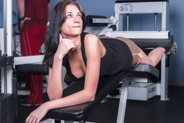 Attractive girl in fitness center