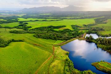 Aerial view of green fields on Kauai, Hawaii