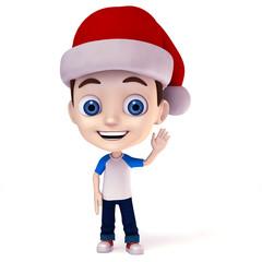 Kid wearing Santa claus hat