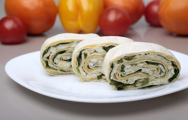 Piita wrap roll sandwich with egg and vegetables