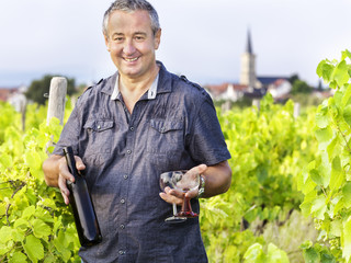 Man with wine bottle and glasses in vineyard