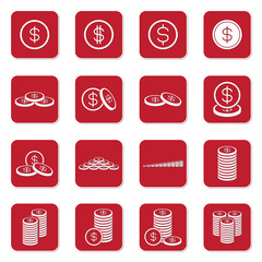 Money coin icon set red box vector illustration