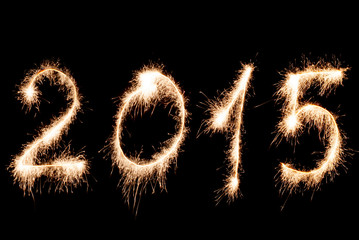 Happy New Year 2015- inscription made sparklers.