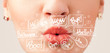 Beautiful red lips with white speech bubbles
