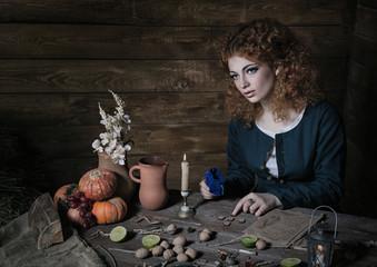Witch preparing potion