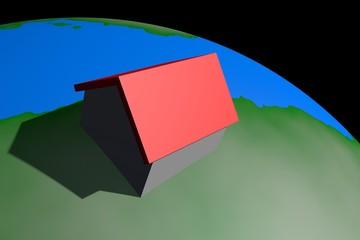 Huis op planeet aarde