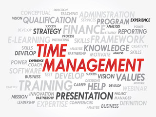 Word cloud of Time Management related items, vector background
