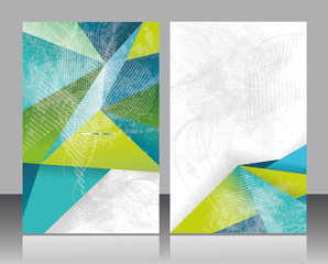 Brochure or Flyer design with abstract geometrical polygonal bac