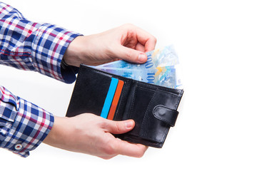 Swiss francs paying with wallet