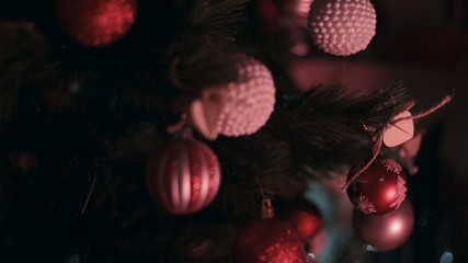 Christmas tree decorated with red and white balls