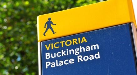 Buckingham Palace road sign in London, UK