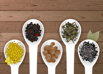 different spices in spoons