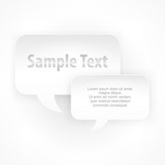 Two square speech bubbles on white, vector illustration