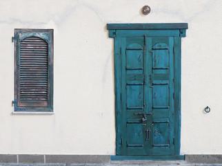 aqua wooden door