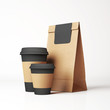 Craft paper bag and cups - 73976219
