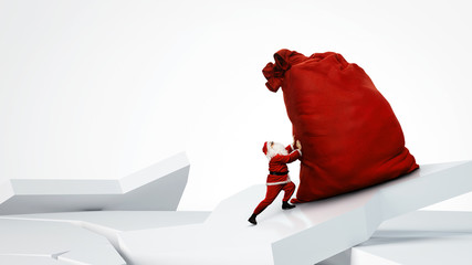 Santa Claus pushing huge red sack