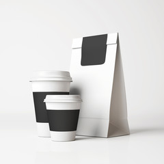 White paper bag and cups