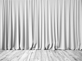 White curtains and floor background