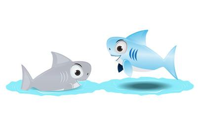 cute shark with friend
