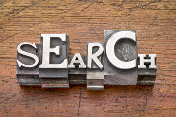 search word in metal type