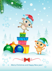 Two cute sheep. Merry Christmas and happy new year