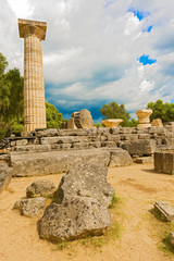 The Temple of Zeus ruins in ancient Olympia, Peloponnes, Greece