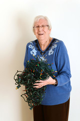 senior mad at tangled christmas lights