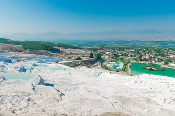 beautiful view of the city from the hill Pamukkale