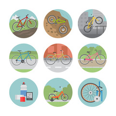 Icon set of different bicycles in flat design style