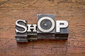 shop word in metal type