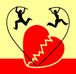 Separation of couple with broken heart symbol